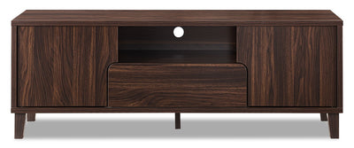 "Finn 60"" TV Stand - Modern style TV Stand in Dark Walnut Particleboard, Medium Density Fibreboard (MDF)"