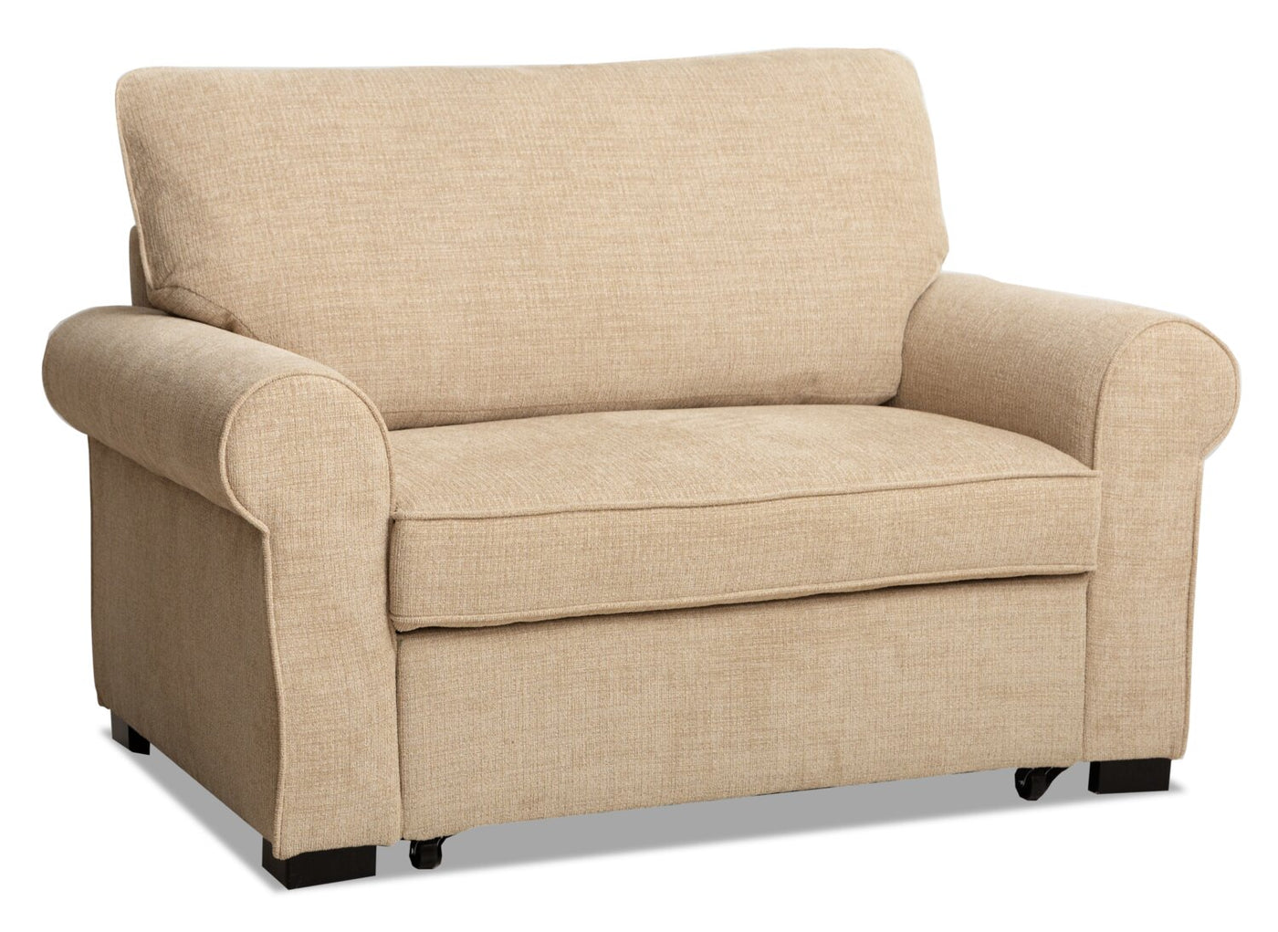 Picture of: Randal Fabric Chair With Pull Out Ottoman Taupe The Brick