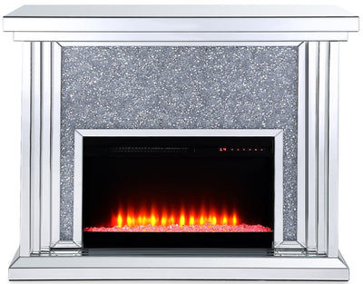 Flint Glam Fireplace  - Glam style Electric Fireplace in Black, Glass, Silver  Medium Density Fibreboard (MDF)