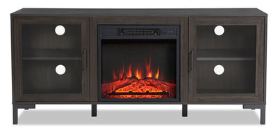 "Mateo 56"" TV Stand with Log Fireplace"