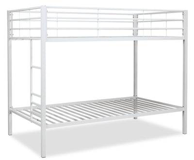 Aura Bunk Bed - White - Contemporary style Bunk Bed in White Metal