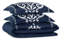 Navy Damask 3-Piece Full/Queen Comforter Set