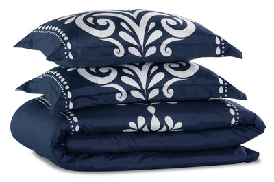 Navy Damask 3-Piece Full/Queen Comforter Set | Ensemble d'édredon Navy Damask 3 pièces pour lit double ou grand lit | NVYDM3FQ
