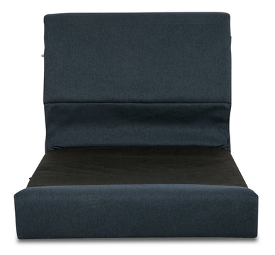 Selma Linen-Look Fabric Modular Armless Seat with Backrest - Dark Navy
