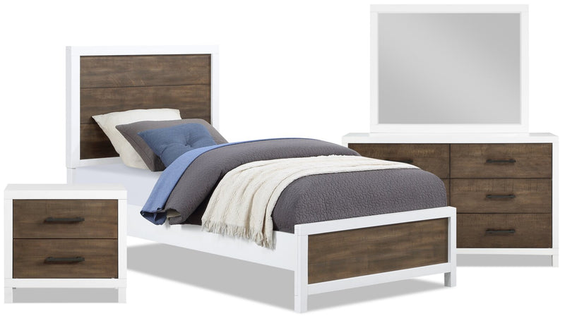Reese 6-Piece Twin Bedroom Package - White and Brown - Bedroom Package