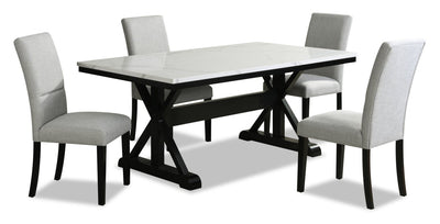 Verona 5-Piece Dining Package with Trestle Dining Table | Ensemble de salle à manger Verona 5 pièces avec table de salle à manger à tréteaux | VER2MDP5