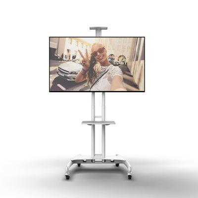 "KANTO TV Mount - Kanto MTM65PLW Height Adjustable Mobile TV Cart with Adjustable Shelf for 37"" to 65"" TVs, White"