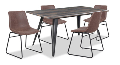 Amos 5-Piece Dining Package with Tess Chairs - Brown | Ensemble de salle à manger Amos 5 pièces avec chaises Tess – brun | AMOSCDP5