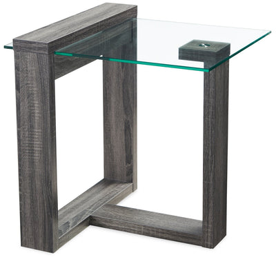 California End Table - Contemporary style End Table in Distressed Grey Particleboard