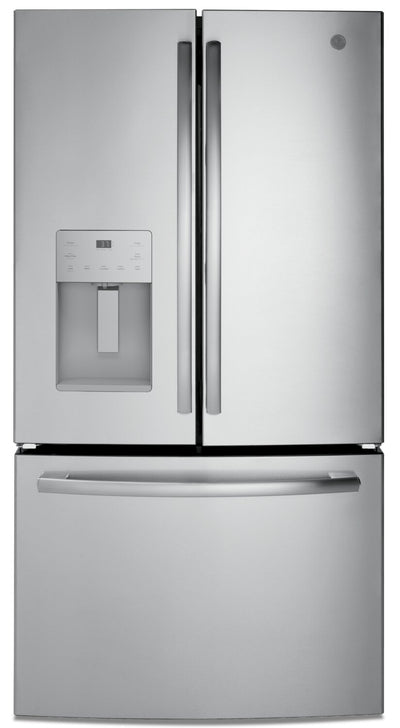 GE 25.5 Cu. Ft. French-Door Refrigerator with Exterior Ice and Water - GFE26JSMSS - Refrigerator in Stainless Steel