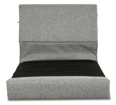 Selma Linen-Look Fabric Modular Armless Seat with Backrest - Grey|Siège modulaire sans accoudoirs avec dossier Selma en tissu apparence lin - gris|SELMGYST