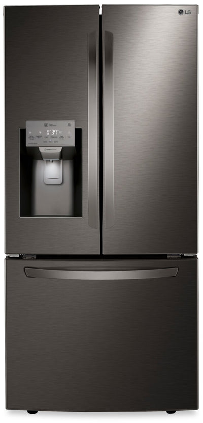 LG 25.4 Cu. Ft. French-Door Refrigerator with Exterior Water Dispenser - LRFXS2503D - Refrigerator in Smudge-Resistant Black Stainless Steel