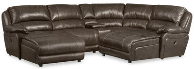 Marco 5-Piece Genuine Leather Sectional with 2 Inclining Chaises - Grey