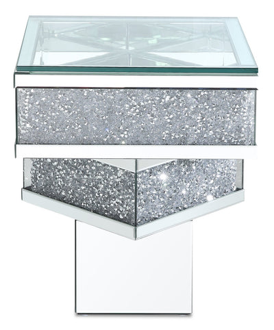 Rosie End Table  - Glam style End Table in Silver Medium Density Fibreboard (MDF)