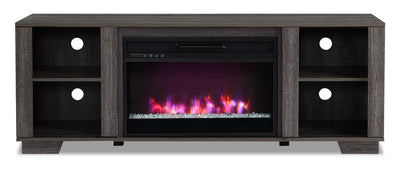 "Antoni 62"" TV Stand with Crystal Ember Firebox - Grey"