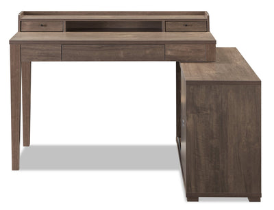 Jude Reversible Desk with Hutch – Hazelnut  - Modern style Desk in Hazelnut  Medium Density Fibreboard (MDF)