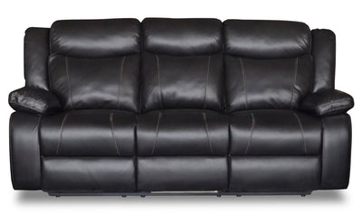 Sammy Leather-Look Fabric Reclining Sofa - Blackberry
