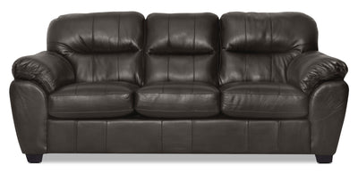 Cass Leather-Look Fabric Sofa - Black - Contemporary style Sofa in Black Alder, Oriented Strand Board (OSB)