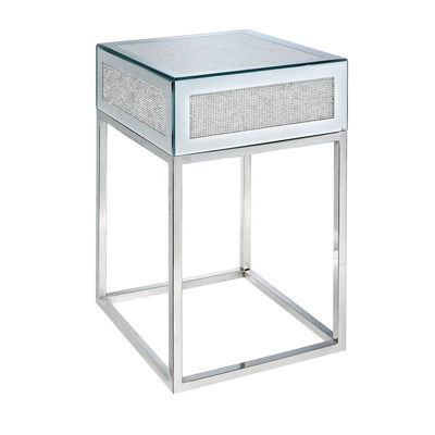 Jayde Chairside Table  - Glam style End Table in Silver