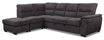 Nevada 4-Piece Chenille Left-Facing Sleeper Sectional - Charcoal|Sofa-lit sectionnel de gauche Nevada 4 pièces en chenille - anthracite|NEVARSEC