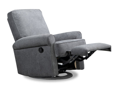 Bevin Chenille Swivel Accent Glider Recliner - Grey - Contemporary style Accent Chair in Grey Plywood, Solid Woods