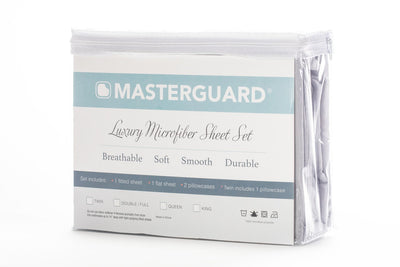 Masterguard® 3-Piece Twin Sheet Set - Light Grey  - Light Grey Sheet Set