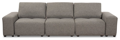 Modera Linen-Look Fabric Modular Sofa - Grey - Modern style Sofa in Grey Pine, Plywood