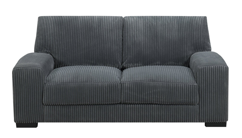 Harmony Corded Microfibre Loveseat - Grey - Modern style Loveseat in Grey Pine