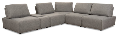 Modera 6-Piece Linen-Look Fabric Modular Sectional with 1 Console - Grey - Modern style Sectional in Grey Pine, Plywood