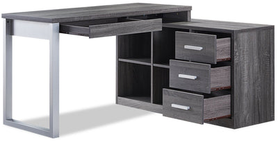 Owen Reversible Corner Desk – Distressed Grey | Bureau en coin réversible Owen - gris vieilli | OWENPDSK