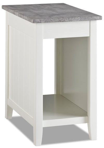 Jodie Chairside Table with USB - White  - Modern style End Table in White