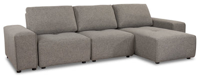 Modera 5-Piece Linen-Look Fabric Modular Sectional - Grey - Modern style Sectional in Grey Pine, Plywood