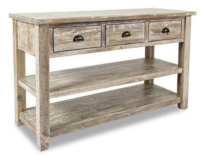 Cody Sofa Table  - Rustic, Industrial style Sofa Table in Washed grey Acacia