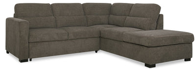 Lola 2-Piece Chenille Right-Facing Sleeper Sectional - Brown | Sofa-lit sectionnel de droite Lola 2 pièces en chenille - brun | LOLABNSR