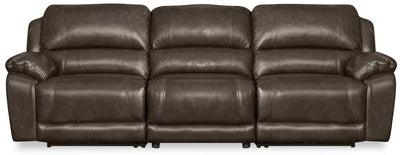 Marco 3-Piece Genuine Leather Power Reclining Home Theatre Sectional with Armless Chair - Grey