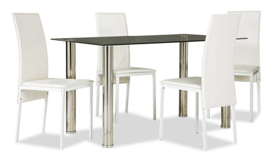 Dane 5-Piece Dining Set - White - Modern style Dining Room Set in White Glass