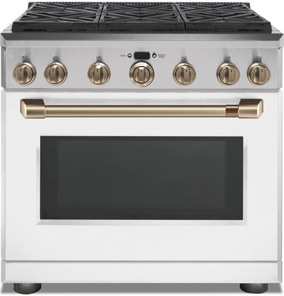 Café 5.75 Cu. Ft. Dual-Fuel Professional Range with 6 Natural Gas Burners - C2Y366P4MW2 - Dual Fuel Range in Matte White with Brushed Bronze Hardware