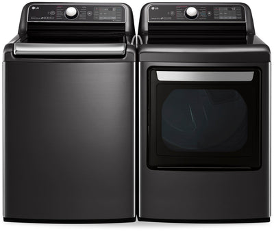 LG 6.0 Cu. Ft. Top-Load Washer and 7.3 Cu. Ft. Electric Dryer - Black Stainless Steel - Laundry Set in Black Stainless Steel