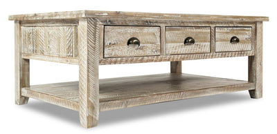 Cody Coffee Table   - Industrial, Rustic style Coffee Table in Washed grey Acacia