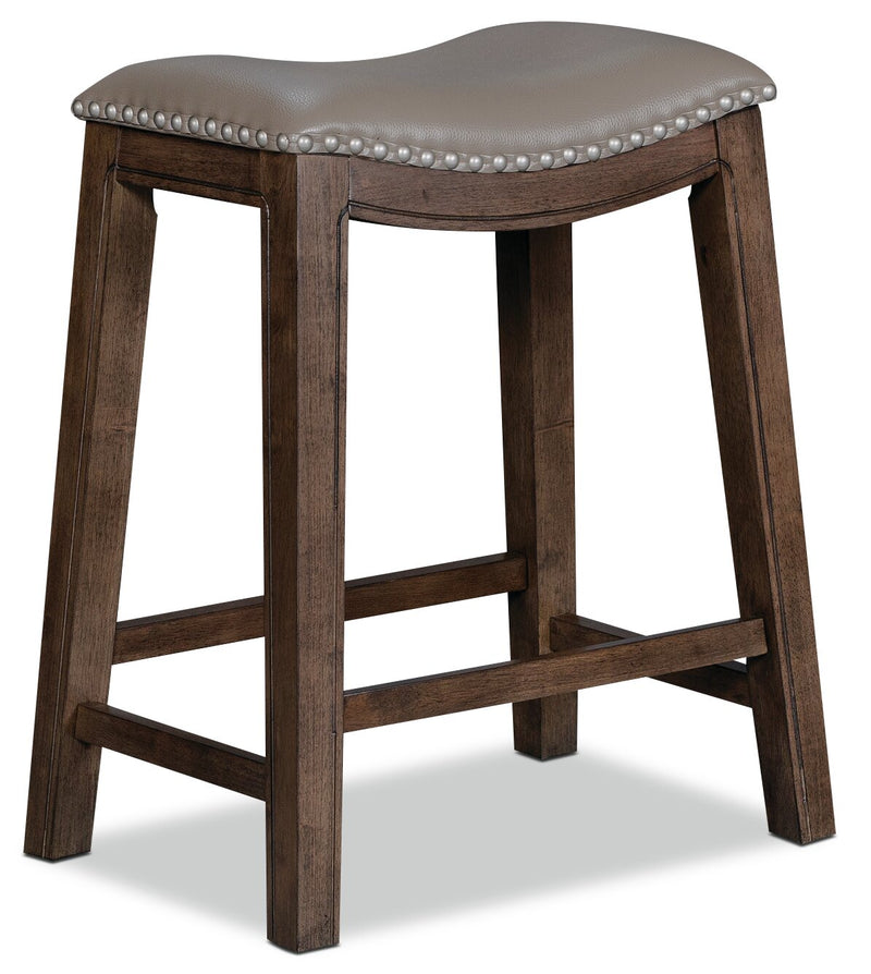 Cale Bar-Height Bar Stool - Grey - Country, Traditional style Bar Stool in Grey Rubberwood