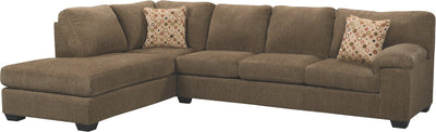 Morty 2-Piece Chenille Left-Facing Sofa Bed Sectional - Brown