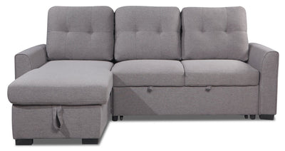 Carter 2-Piece Left-Facing Linen-Look Fabric Sleeper Sectional - Solis Grey - Sleeper Sectional in Solis Grey