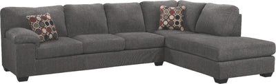 Morty 2-Piece Chenille Right-Facing Sectional - Grey | Sofa sectionnel de droite Morty 2 pièces en chenille - gris | MORTGRS2