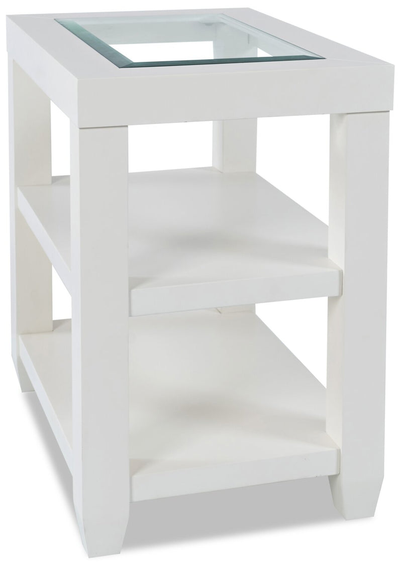 Corey Chairside Table - White - Modern style End Table in White Acacia, Glass