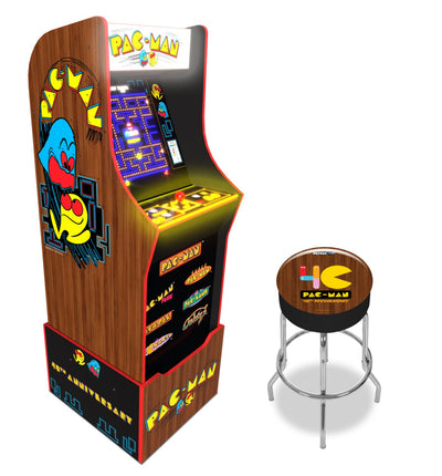 Arcade1Up 40th Anniversary Edition Pac-Man Arcade Machine with Licensed Riser and Matching Stool | Machine de jeu d'arcade Pac-Man édition 40e anniversaire Arcade1Up avec plateforme et tabouret d'arcade réglable sous licence officielle | PACMNBDL