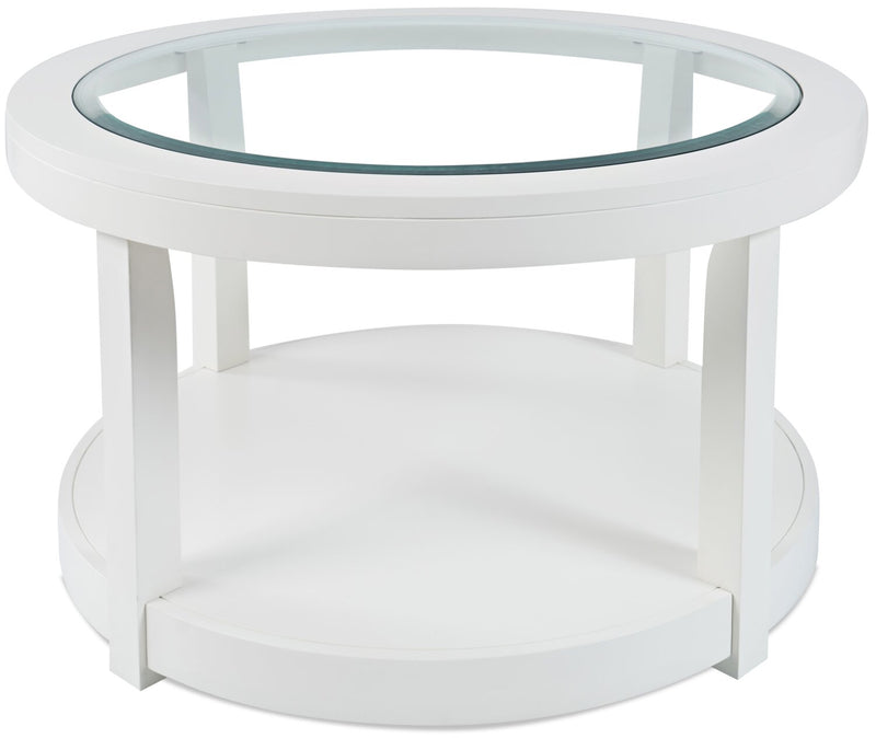 Corey Round Coffee Table - White - Modern style Coffee Table in White Glass, Acacia