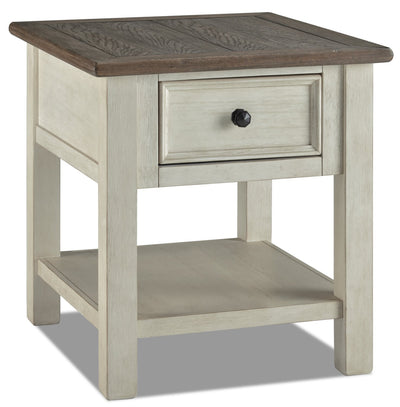 Colby End Table  - Rustic style End Table in Weathered oak and antique white