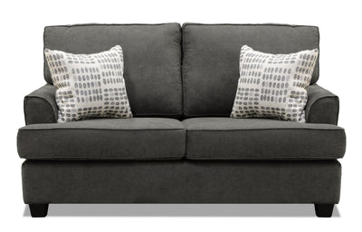 Jersey Linen-Look Fabric Loveseat - Fragalistic Charcoal