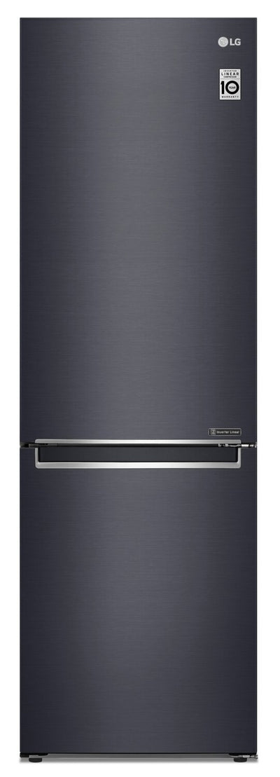 LG 12 Cu. Ft. Counter-Depth Bottom-Freezer Refrigerator with Wine Rack - LBNC12241P - Refrigerator in Matte Black
