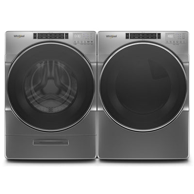 Whirlpool 5.8 Front-Load Washer and 7.4 Cu. Ft. Electric Dryer with Steam – Chrome Shadow  | Laveuse à chargement frontal 5,8 pi³ et sécheuse électrique 7,4 pi³ Whirlpool, vapeur - ombre chrome  | WHFL86LD